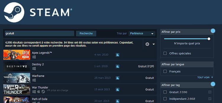 Des jeux gratuits sur steam ?